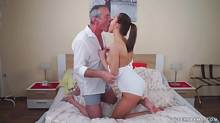 Gloom babe Katy Rose rides an older mans cock and gets cum