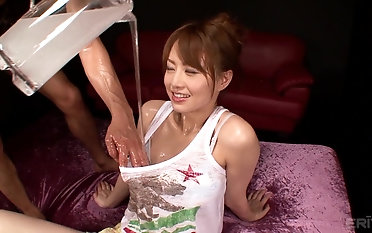 Beautiful Akiho Yoshizawa gets her pussy pleased with a chubby dildo