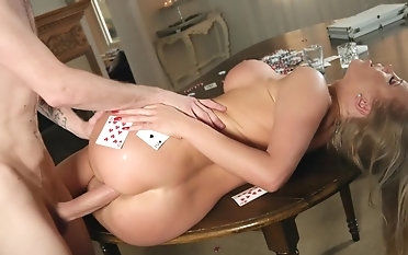 Milf gets roughly fucked by hubby's poker friend
