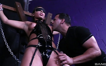 BDSM make believe with submissive Abella Danger whose tits get sucked
